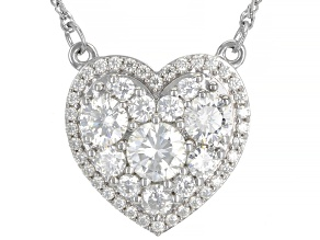 Moissanite Platineve Heart Necklace 2.18ctw DEW.