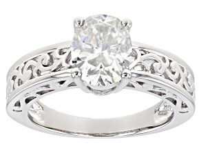 Moissanite Platineve Ring 2.10ct DEW.