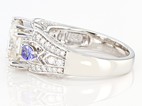 Moissanite And Tanzanite Platineve Ring 3.80ctw DEW.