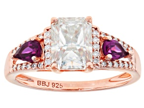 Moissanite And Grape Color Garnet 14k Rose Gold Over Silver Ring 2.14ctw DEW.