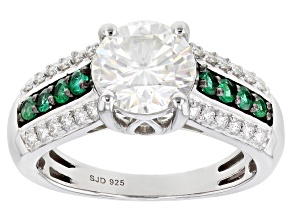 Moissanite and Zambian emerald Platineve ring 2.14ctw DEW.