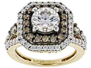 Moissanite And Champagne Diamond 14k Yellow Gold Over Silver Ring 1.76 DEW.