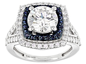 Moissanite And Blue Sapphire Platineve Ring 3.20ctw DEW.