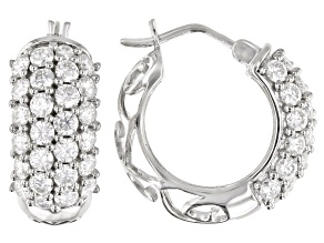Moissanite Platineve Hoop Earrings 3.00ctw DEW.