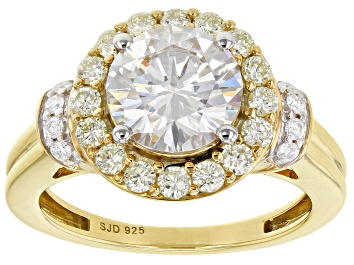 Picture of Moissanite And Natural Yellow Diamond 14k Yellow Gold Over Silver Ring 2.28ctw DEW.