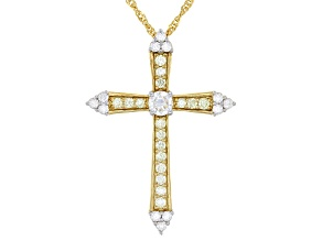 Moissanite and natural yellow diamond 14k yellow gold over sterling silver cross pendant .47ctw DEW