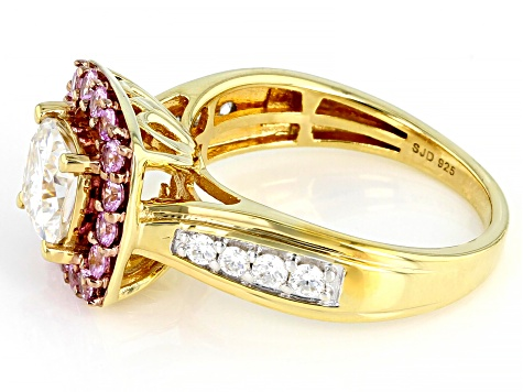Moissanite And Natural Pink Sapphire 14k Yellow Gold Over Silver Ring 1.54ctw DEW.