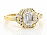 Moissanite 14k yellow gold over silver ring 1.33ctw DEW.