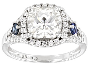 Moissanite and blue sapphire platineve ring 2.80ctw DEW.