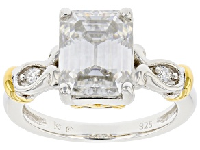 Moissanite Platineve And 14k Yellow Gold Accent  Over Platineve Ring 3.61ctw DEW