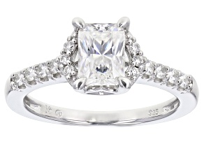 Moissanite Platineve Ring 1.42ctw DEW.