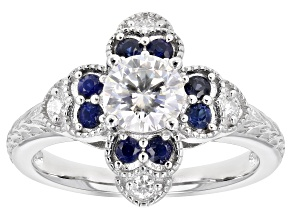 Moissanite And Blue Sapphire Platineve Ring .88ctw DEW.