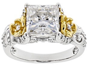 Moissanite Platineve And 14k Yellow Gold Accent  Over Platineve Ring 3.16ctw DEW