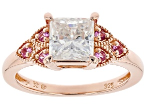 Moissanite And Pink Sapphire 14k Rose Gold Over Silver Ring 1.70ct DEW.