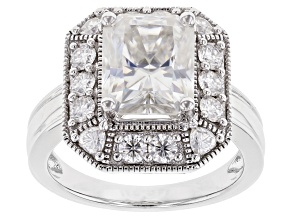 Moissanite Platineve Ring 4.70ctw DEW.