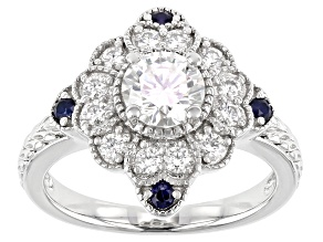 Moissanite And Blue Sapphire Platineve Ring 1.16ctw DEW.