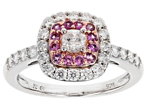 Moissanite And Pink Sapphire Platineve And 14k Rose Gold Over Platineve Ring .94ctw DEW.