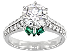 Moissanite And Zambian Emerald Platineve Ring 2.38ctw DEW.