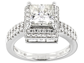 Moissanite Platineve Ring 3.94ctw DEW.