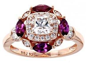 Moissanite and grape color garnet 14k rose gold over silver ring 1.12ctw DEW.