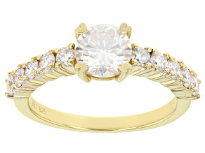 Moissanite 14k yellow gold over sterling silver ring 1.60ctw DEW.