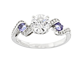 Moissanite And Tanzanite Platineve Ring 1.20ctw DEW.