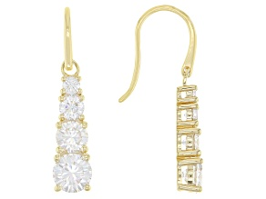 Moissanite 14k yellow gold over silver earrings 2.30ctw DEW.