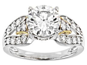 Moissanite Platineve and 14k yellow gold over platineve ring 2.86ctw DEW.