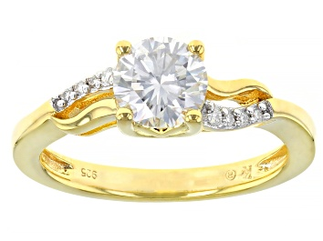 Picture of Moissanite 14k yellow gold over silver ring 1.08ctw DEW.