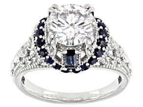 Moissanite And Blue Sapphire Platineve Ring 1.94ctw DEW.