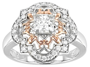 Moissanite Platineve And 14k Rose Gold Accent Over Platineve Ring 1.16ctw DEW.
