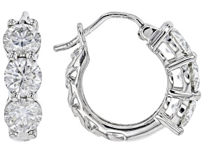 Moissanite platineve hoop earrings 1.98ctw DEW