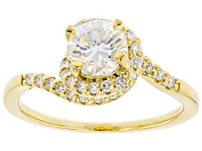 Moissanite 14k yellow gold over sterling silver ring 1.34ctw DEW.