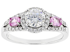 Moissanite And Pink Sapphire Platineve Ring 1.17ctw DEW.