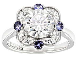 Moissanite And Tanzanite Ring 2.76ctw DEW.