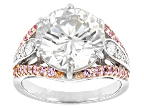 Moissanite And Pink Sapphire Platineve Ring 6.33ctw DEW.