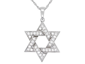 Moissanite Platineve Star Of David Pendant .72ctw DEW.
