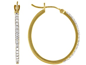Moissanite 14k yellow gold over sterling silver hoop earrings .32ctw DEW