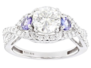 Moissanite And Tanzanite Platineve Ring 1.60ctw DEW.
