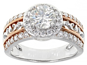 Moissanite Platineve And 14k Rose Gold Accent Over Platineve Ring 1.78ctw Dew