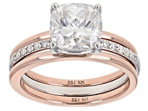 Moissanite Platineve And 14k Rose Gold Over Silver  Ring With Two Bands 2.52ctw Dew