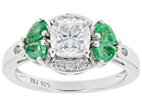 Moissanite And Zambian Emerald Platineve Ring 1.22ctw D.E.W