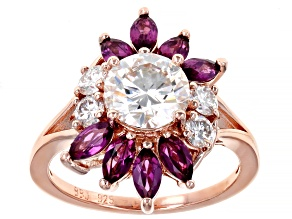 Moissanite And Grape Color Garnet 14k Rose Gold Over Silver Ring 1.90ctw D.E.W