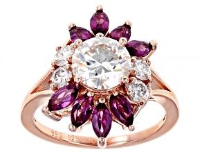 Moissanite And Grape Color Garnet 14k Rose Gold Over Silver Ring 1.90ctw D.E.W