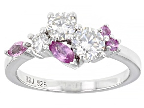 Moissanite And Pink Sapphire Platineve Ring .93ctw DEW.