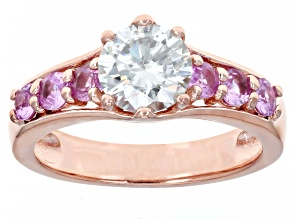 Moissanite and pink sapphire 14k rose gold over silver ring 1.20ct Dew