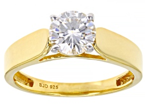 Candlelight Moissanite 14k yellow gold over silver ring 1.00ct DEW.