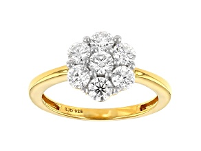 Moissanite 14k yellow gold over silver ring 1.12ctw DEW.