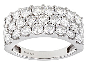 Moissanite Platineve Wide Band Ring 2.50ctw DEW.