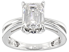 Moissanite And Blue Sapphire Platineve Ring 2.52ctw D.E.W